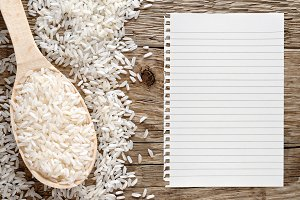 White rice and paper for recipe