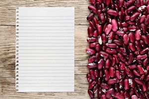 Beans and paper for recipe