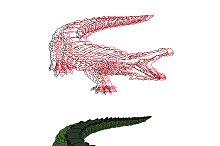 hand drawn crocodile vector set