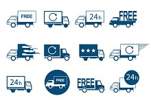 Set of logos delivery vehicles