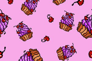 Vector sweet cupcakes pattern