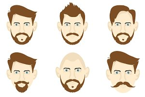 Set of men with different hairstyles