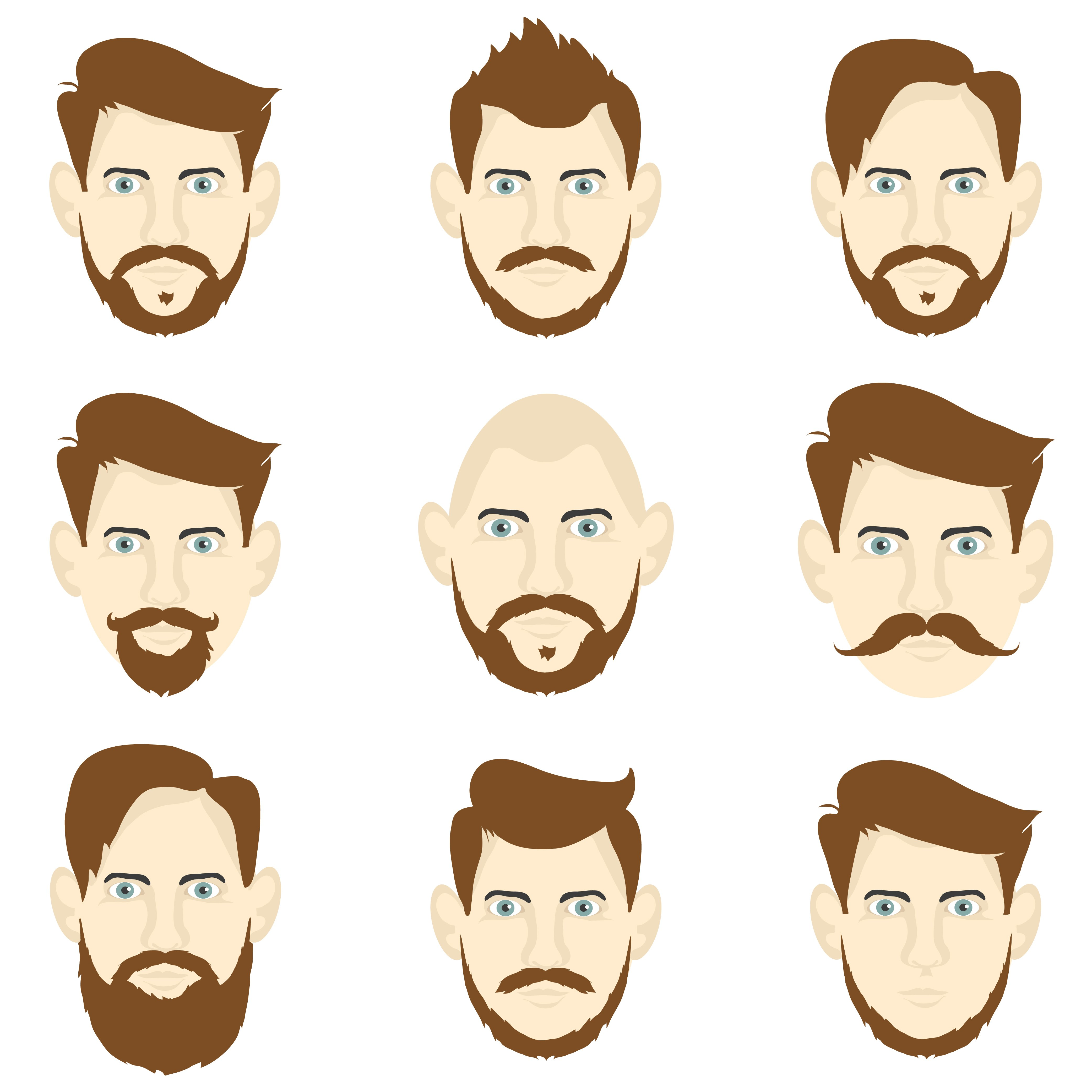 Set Of Men With Different Hairstyles Objects Creative Market