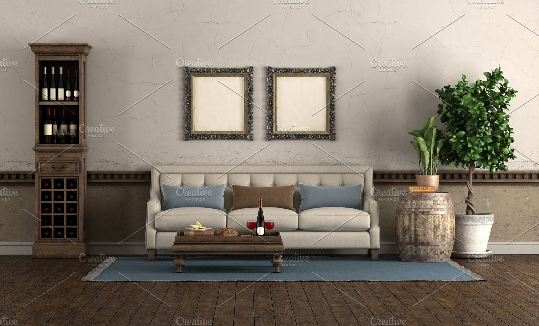 Retro style living room with sofa an