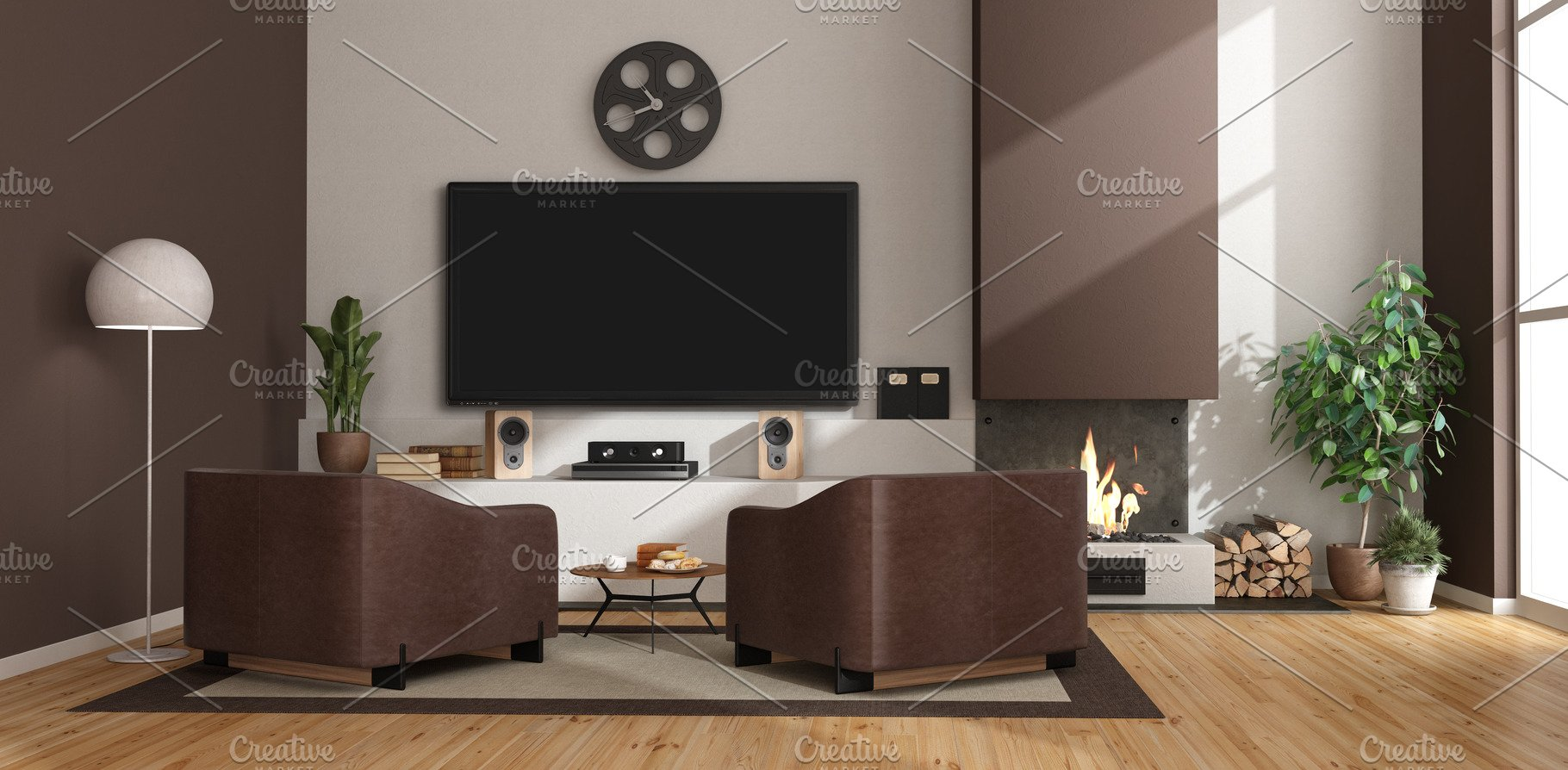 Modern living room with fireplace,ar