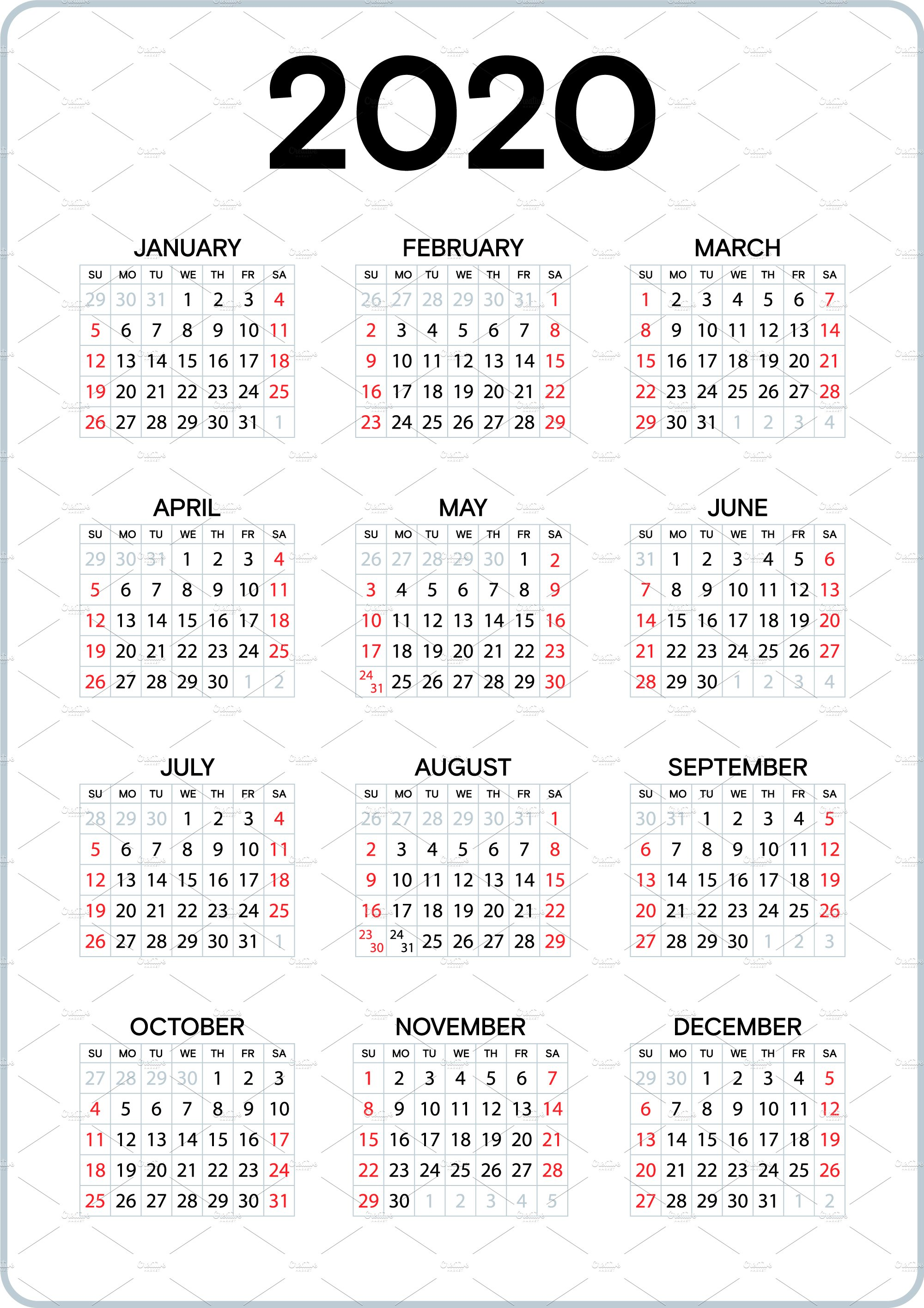 2020calendarcw_2020 calendar with week numbers_cw 26 2020_2020 ...