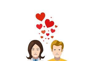 Couple in love, flat illustration