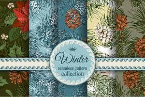 Winter seamless patterns set