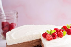 Chocolate mousse cake on pink