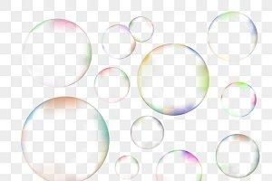 Set of transparent soap bubbles