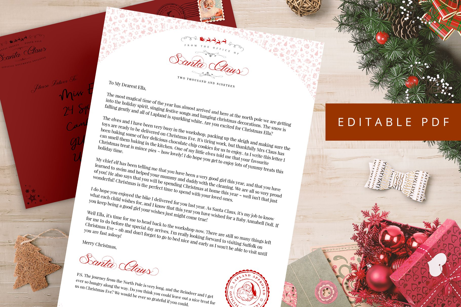 Editable Letter From Santa PDF PSD ~ Stationery Templates ...