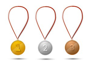Set of gold, silver and bronze medal