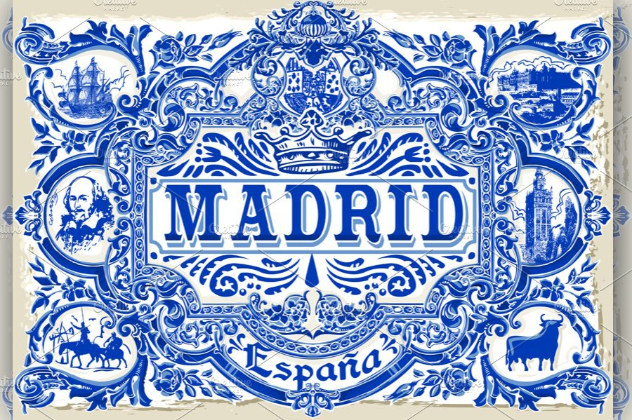 madrid vintage azulejos illustrations creative market