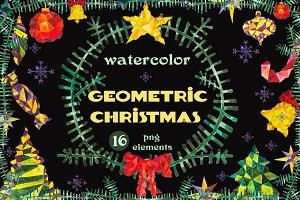 Watercolor Geometric Christmas Set