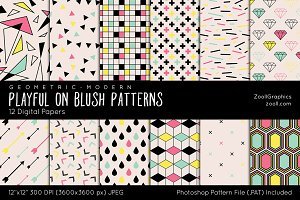 Playful On Blush Digital Papers