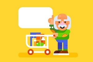 Elderly man at a supermarket. Vector
