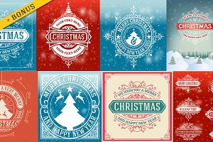 8 Retro christmas cards set + bonus
