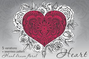 Hand drawn ornate hearts