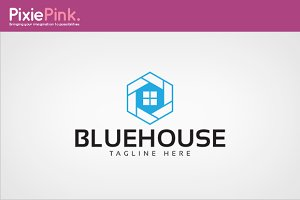 Blue House Logo Template