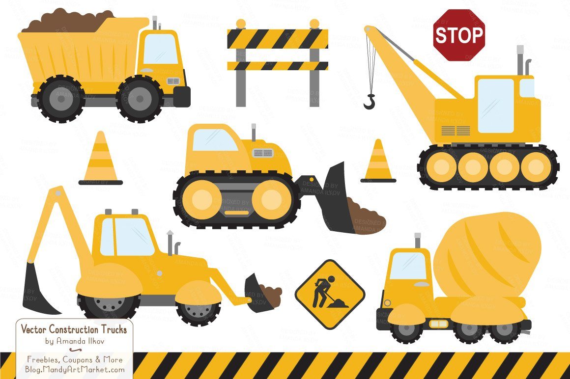 Sunshine construction trucks illustrations creative market for Sunshine construction