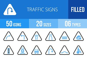 50 Traffic Signs Blue & Black Icons