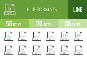 50 File Formats Green & Black Icons