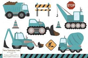 Vintage Blue Construction Trucks