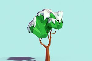 Low Poly Snowy Tree 02