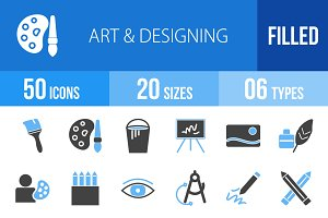 50 Art & Designing Blue&Black Icons
