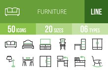 50 Furniture Green & Black Icons