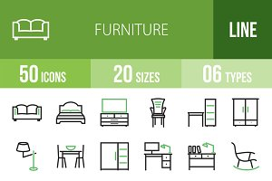 50 Furniture Green & Black Icons