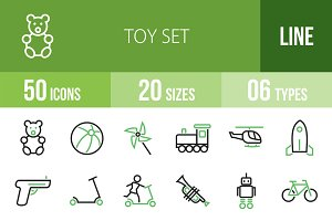 50 Toy Set Green & Black Icons
