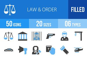 50 Law & Order Blue & Black Icons