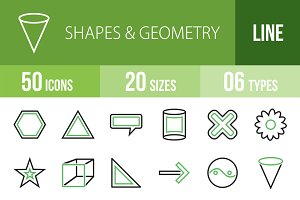 50 Shapes&Geometry Green&Black Icons