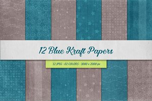 12 Blue Kraft Papers