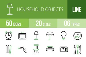 50 Household Objects Green & Black