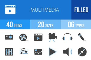 40 Multimedia Blue & Black Icons