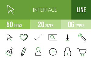 50 Interface Green & Black Icons