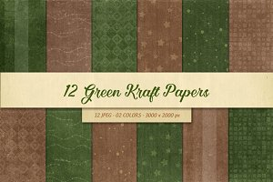 12 Green Christmas Kraft Papers
