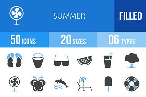 50 Summer Blue & Black Icons