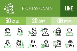 50 Professionals Green & Black Icons