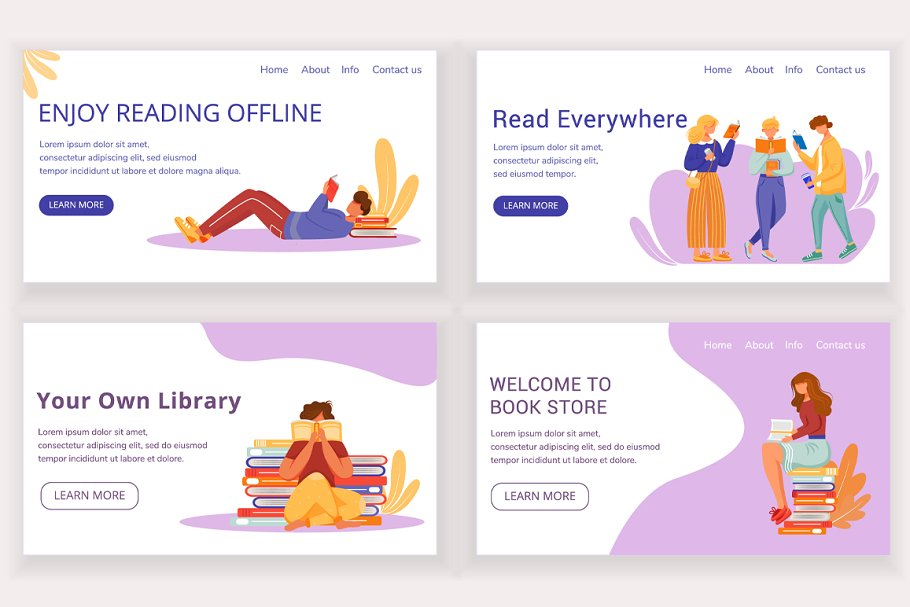 Reading book landing pages set