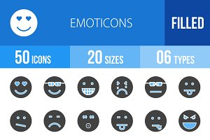 50 Emoticons Blue & Black Icons