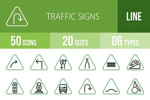 50 Traffic Signs Green & Black Icons