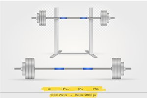 Steel barbell vector illustration