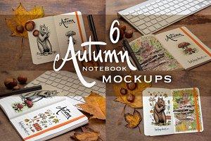6 Autumn Notebook Mockups