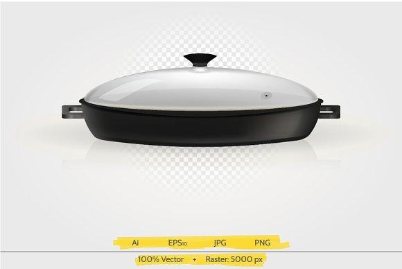 Sauce pan vector illustration.