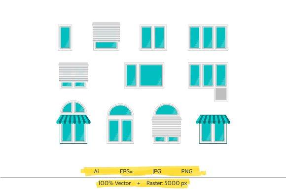 Window vector icons set in Graphics