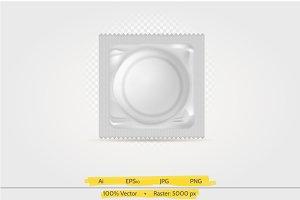 Packed condom vector illustration