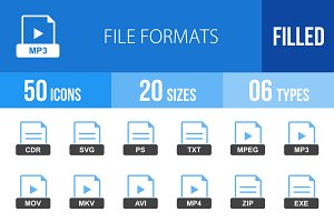 50 File Formats Blue & Black Icons